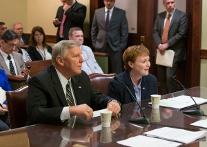 Acting Secretary of the Department of Aging Teresa Osborne, seated on the right, during her confirmation before the Senate Aging and Youth Committee, chaired by Senator Brooks.